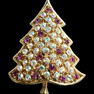 Vintage 1964 Hedison Mark Holiday Christmas Tree Rhinestone Pin Brooch