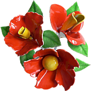 1960's Poppy Cluster Enamel Flower Power Pin Brooch