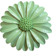 1960's Vintage Flower Power Mint Green Enameled Flower Multi-Dimensional Pin Brooch