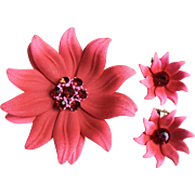 Spectacular Large Enamel Dimensional Coral Flower w/ Rhinestones Pin Brooch & Earrings Set 1960's