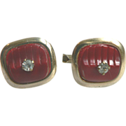 1950's Retro Red Carved Thermoplastic  Cuff Links with Rhinestones
