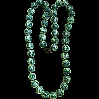 Vintage Cobalt Blue on White Porcelain Large Bead Oriental Chinese Long Necklace