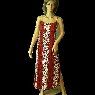 Vintage KY's Hawaiian Full Length Dead Stock Deep Red Sundress New Hibicus Tropical Print 2XL