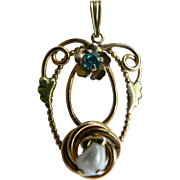 Gorgeous 1920's-30s Gold Filled Lavalier Genuine Pearl & Aquamarine Rhinestone Signed AMCO
