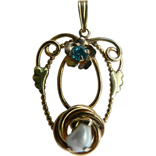 Gorgeous 1920's-30s Gold Filled Lavalier Genuine Pearl & Aquamarine Rhinestone Signed AMCO