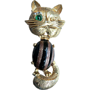 Vintage Weiss Winking Cat Jelly Belly / Goldstone & Black Glass Striped Belly