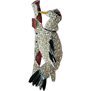 Rare Articulated 1930's Woodpecker Rhinestone / Enamel Brooch Pin