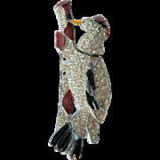 Rare Articulated 1930's Woodpecker Rhinestone / Enamel Brooch Pin