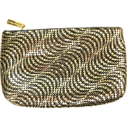 Vintage Art Deco Style Whiting & Davis Black / Gold Metal Mesh Clutch Purse Bag