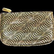 Vintage Art Deco Style Whiting & Davis Black / Gold Metal Mesh Clutch Purse Bag