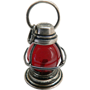 Rare Estate Sterling Vintage Skater's Lantern Lamp Pendant Charm, Doll's Lantern, Dollhouse Lantern Accessorie