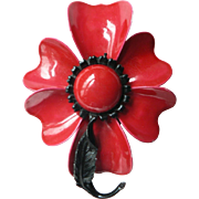 1960's Retro LARGE Brilliant Red Enameled Flower Pin (HOLD FOR DONNA)