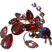 Vintage Red Aurora Borealis and Red / Pink Rhinestone Spray Pin Brooch