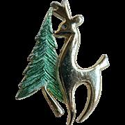 Vintage Beatrix BJ Modernist Reindeer & Christmas Tree Pin Signed