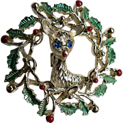 Signed Gerry's Reindeer in Wreath Vintage Christmas Pin