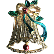 Vintage Gold Christmas Bell with Green & Red Enamel