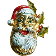 Vintage 1950's Santa Claus Enamel& Rhinestone Face Pin With Holly