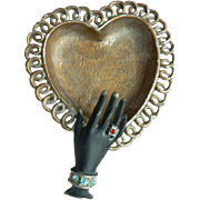 1950's Black Hand on Heart Metal Pin Tray with Rhinestone Ring & Bracelet