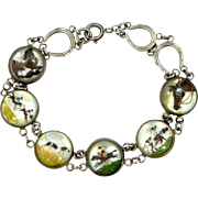 Art Deco Sterling Silver Essex Crystal Hunting, Horse, Spaniel, Retriever, Horseshoes Motif Bracelet