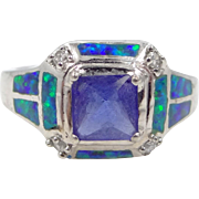 Pretty Sterling Silver Ring with Inlaid Fire Opals and Sapphire Blue Paste Stone