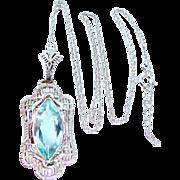 14k White Gold Filigree Aquamarine Art Deco Necklace