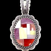 Relios Carolyn Pollack Sterling Silver & Inlaid Gemstones Pendant