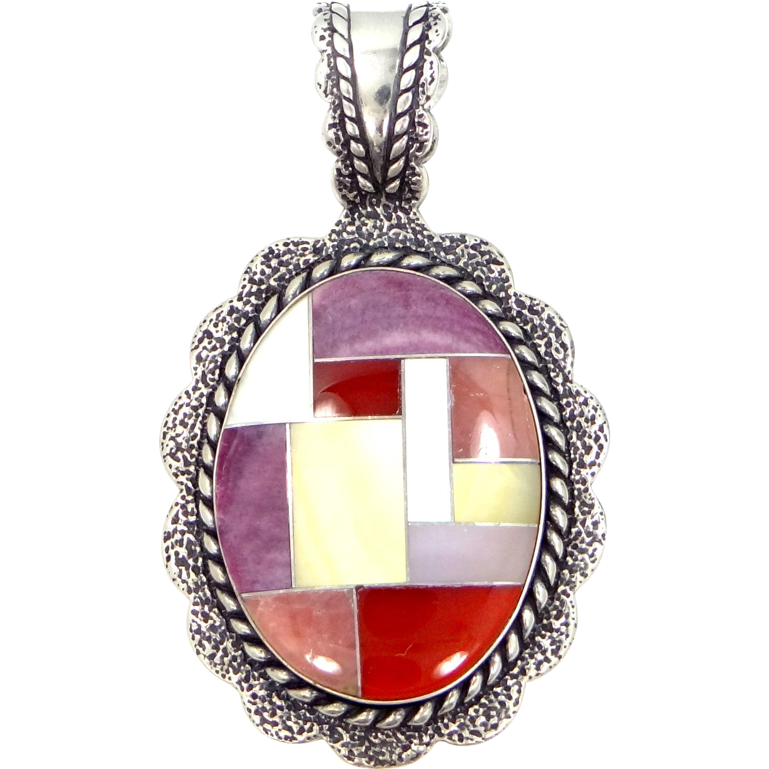 Relios Carolyn Pollack Sterling Silver & Inlaid Gemstones Pendant