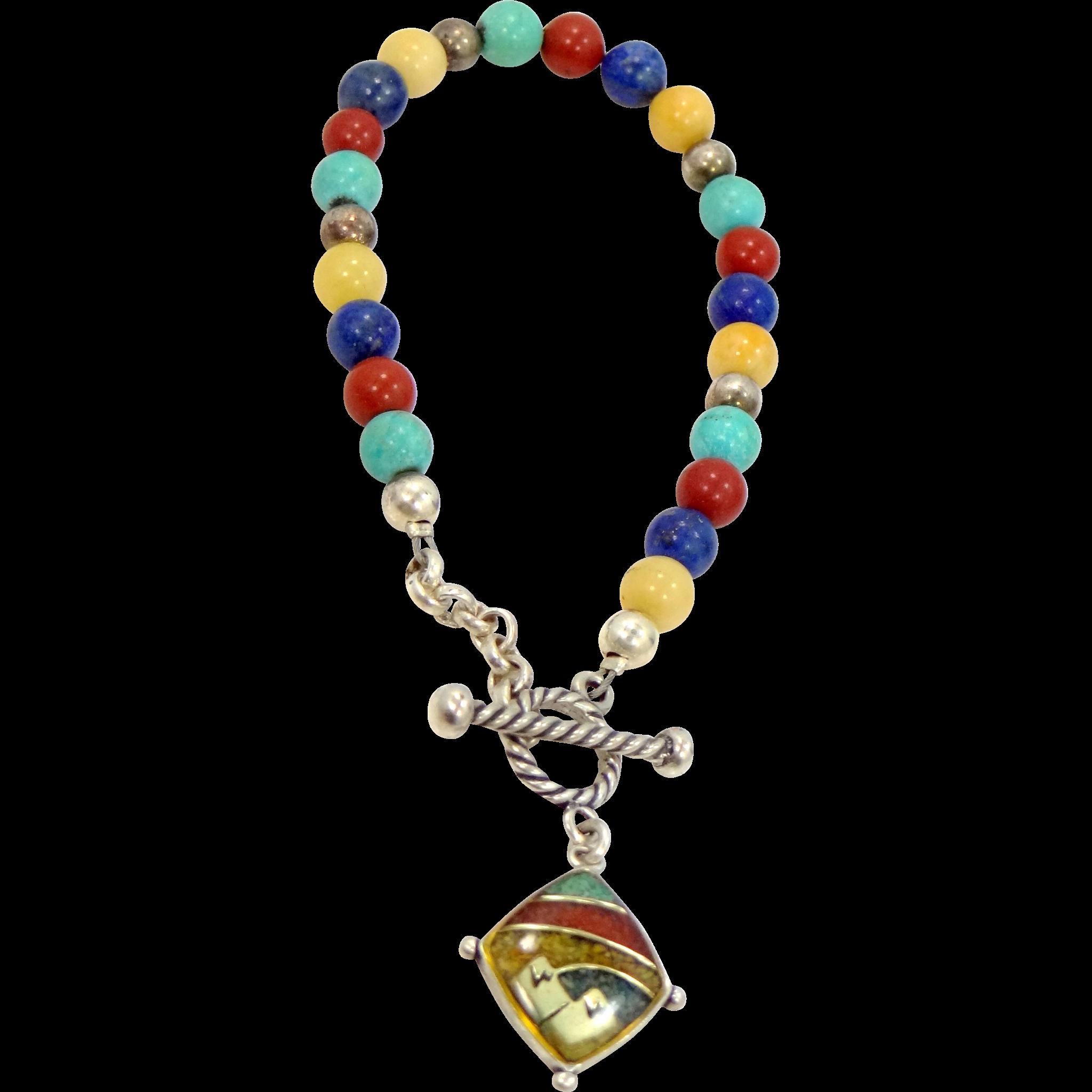 Relios Carolyn Pollack Sterling Silver & Inlaid Gemstones Bracelet