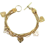 Shube's, Inc. Sterling Silver with Gold Wash Hearts Charms Bracelet