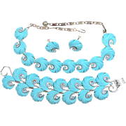 "Lisner Blue Rhinestones Parure With 1 1/2"" Wide Bracelet, Necklace and Earrings"