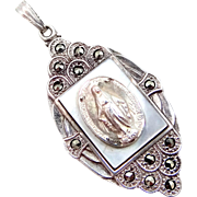 Creed Sterling Silver and Marcasites Mother of Pearl Miraculous Medal