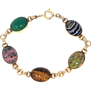 1950's Admark Gold Filled and Semi Precious Stones Scarab Bracelet