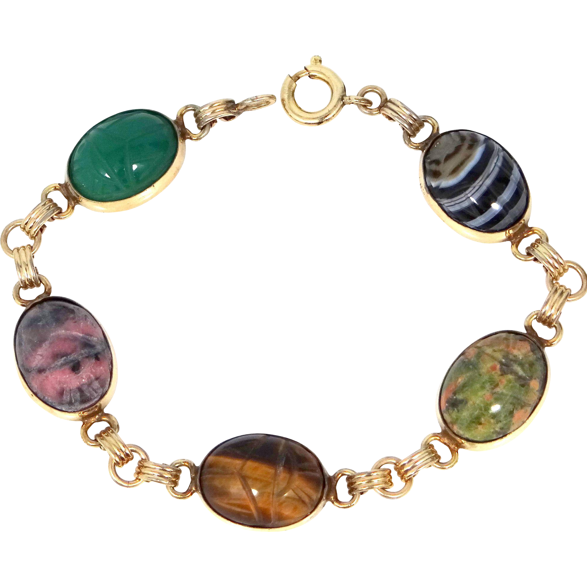 1950's Admark Gold Filled and Semi Precious Stones Scarab Bracelet