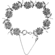 1930's Sterling Silver and Marcasites Daisy Flowers Bracelet Art Deco Era