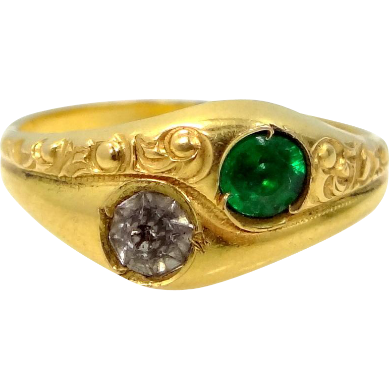 Victorian Gold Shell Green and Clear Paste Lady's Ring
