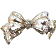 Reja Sterling Silver Rhinestones Figural Bow Pin