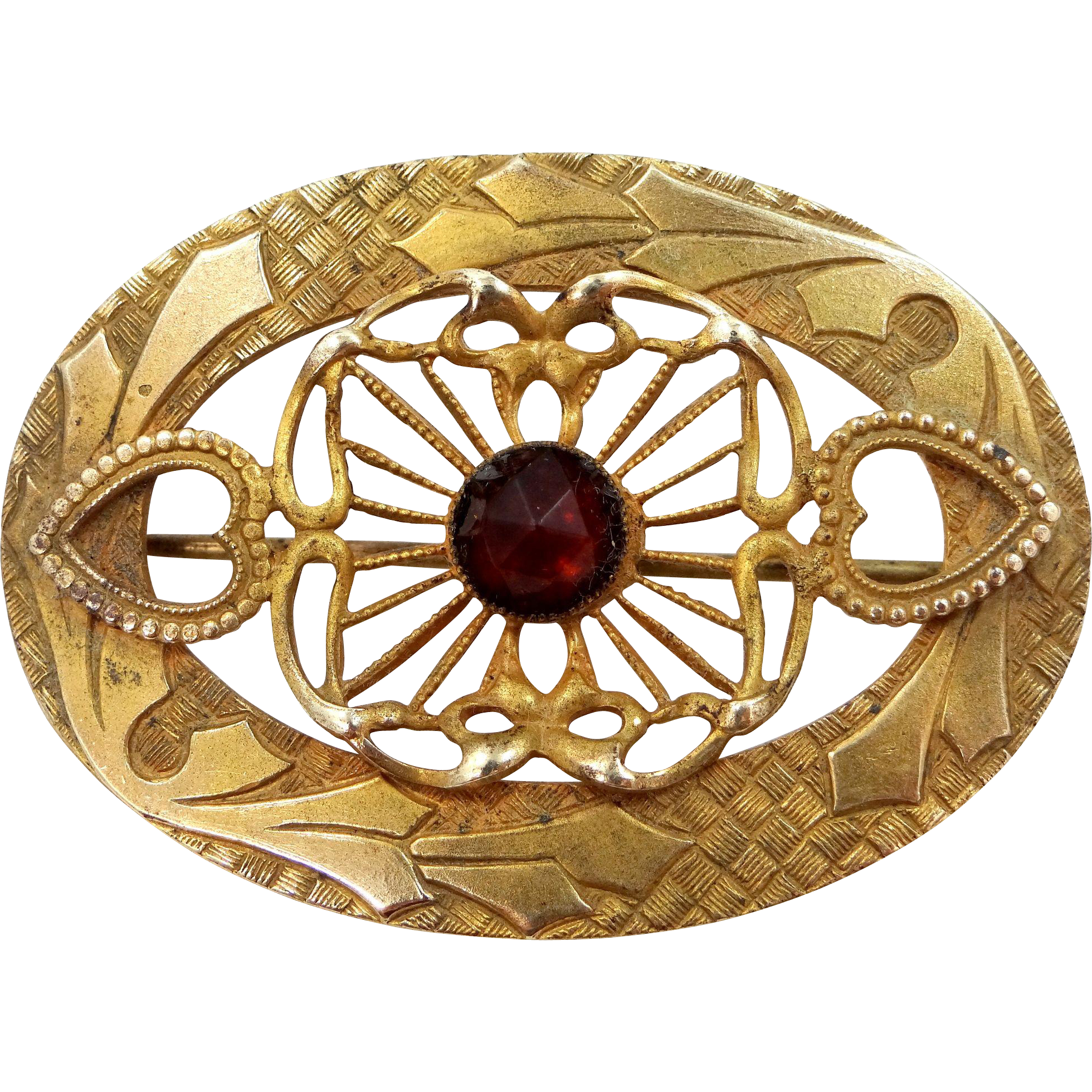 Art Nouveau Gilt Brass and Faceted Amber Glass Filigree Pin
