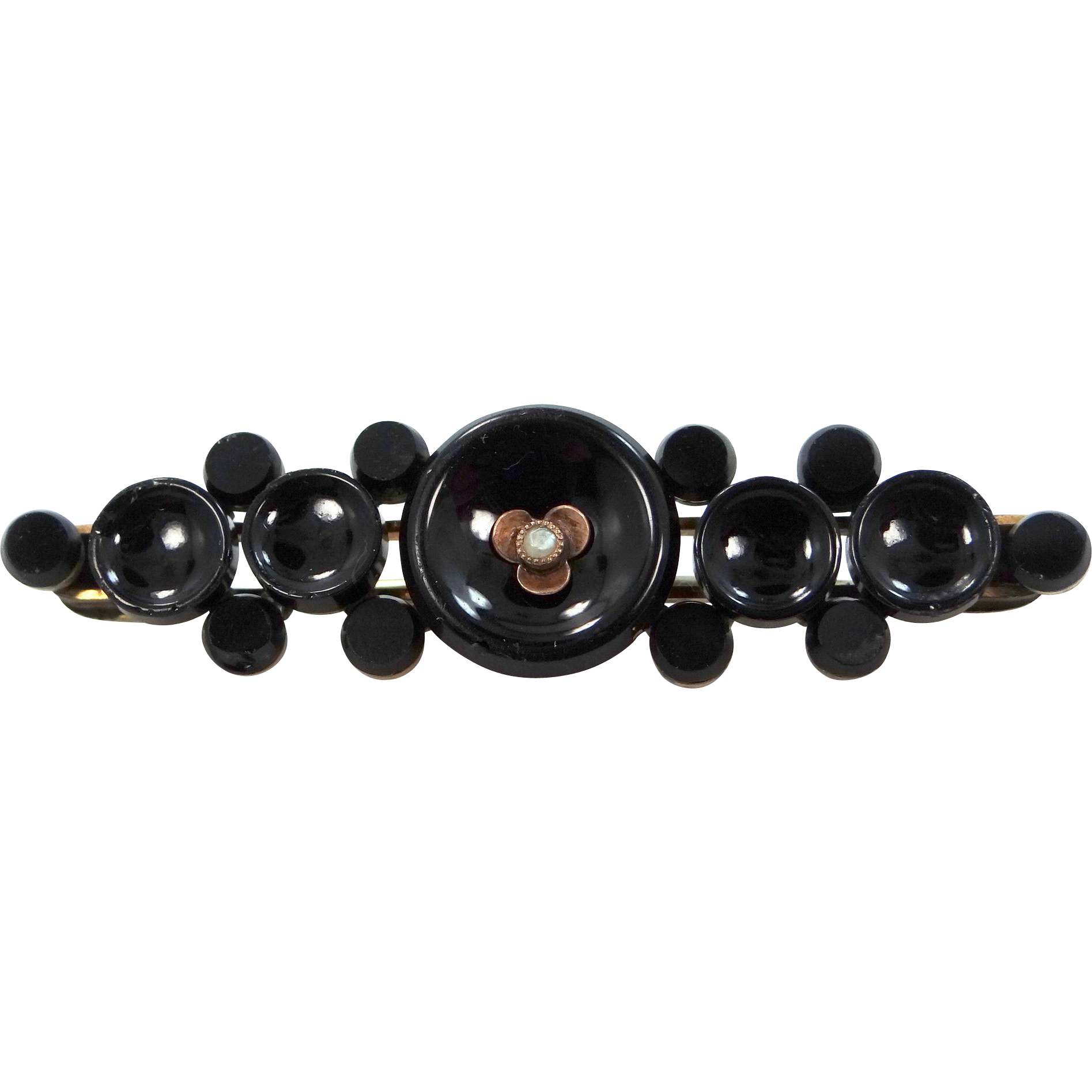 Victorian Black Onyx and Seed Pearl Mourning Pin