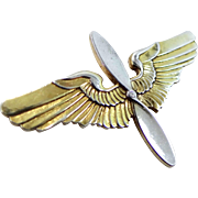 WWII Sterling Silver AAF Army Air Force Cadet Pin