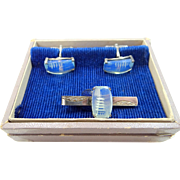 Sterling Silver Pagoda Blue Back Carved Crystals Cufflinks and Tie Bar Set in Original Box