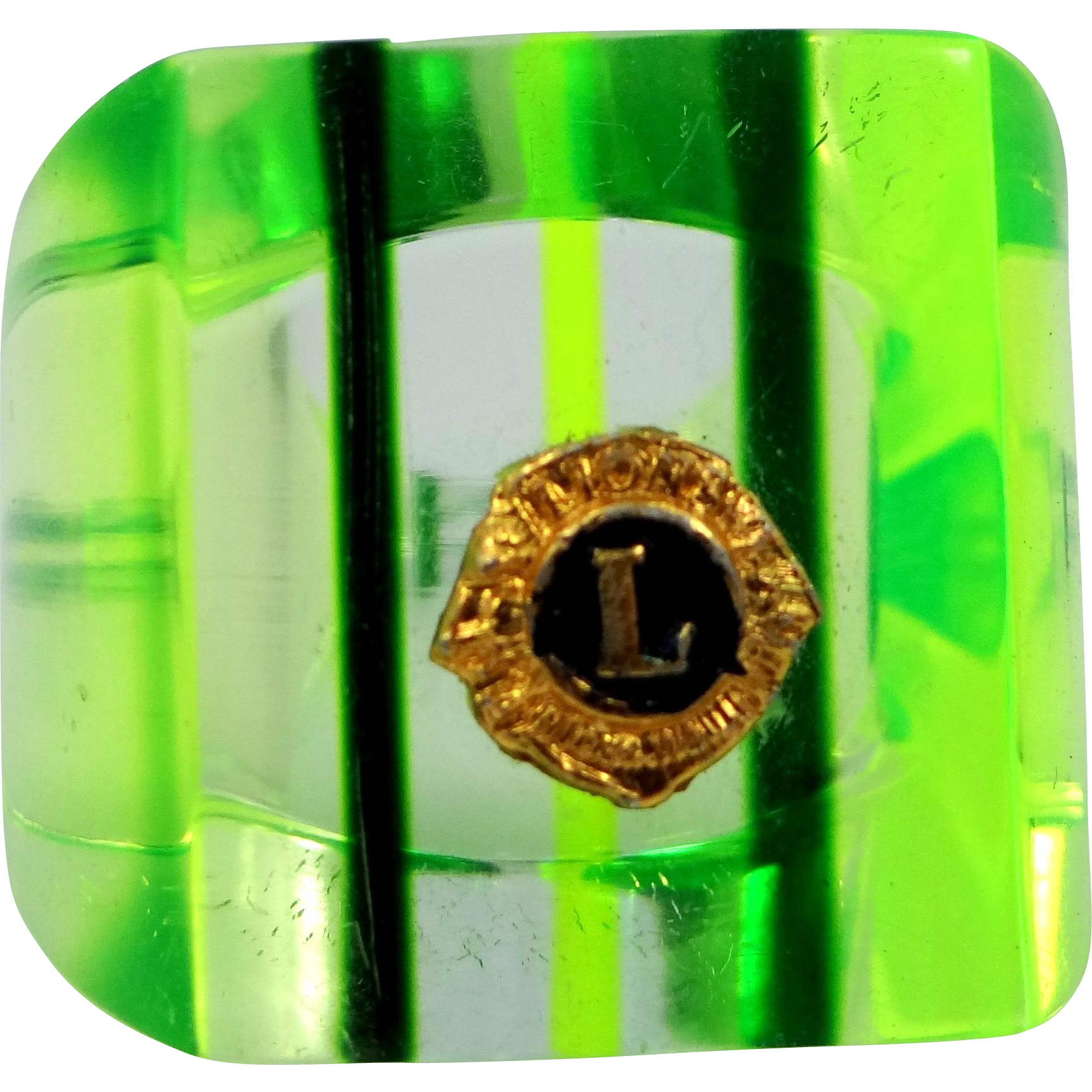 "1960's ""Far Out"" Green Lucite Lions Ring Lioness"