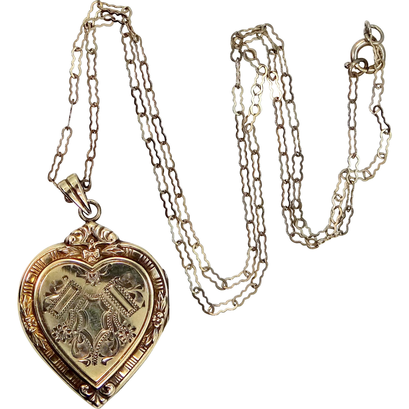 Hayward Gold Filled Heart Shaped Locket on Paperclip Chain