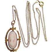 Vintage Angelskin Coral Cameo Necklace