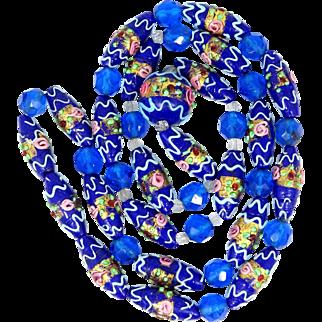 Bright Blue Wedding Cake Art Glass Beaded Necklace