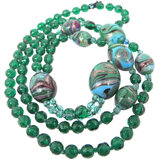 Venetian Art Glass with Infused Goldstone and Emerald Green Glass Beads Necklace