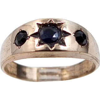 Man's Victorian Ring With Paste Stones