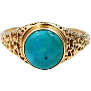 14k Gold Natural Blue Turquosie Ring