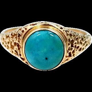 14k Gold Natural Blue Turquosie Ring