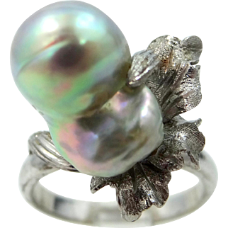 14k White Gold South Sea Baroque Pearl Lady's Ring