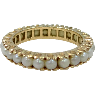 14k Gold Seed Pearls Eternity Band Lady's Ring